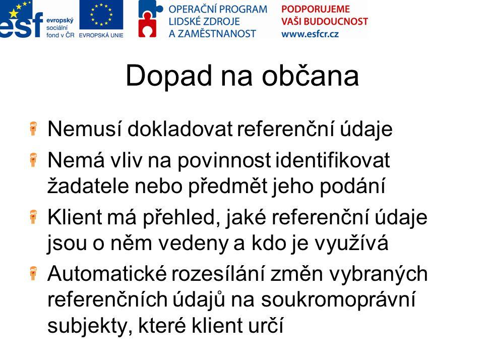 Dopad na občana Nemusí dokladovat referenční údaje