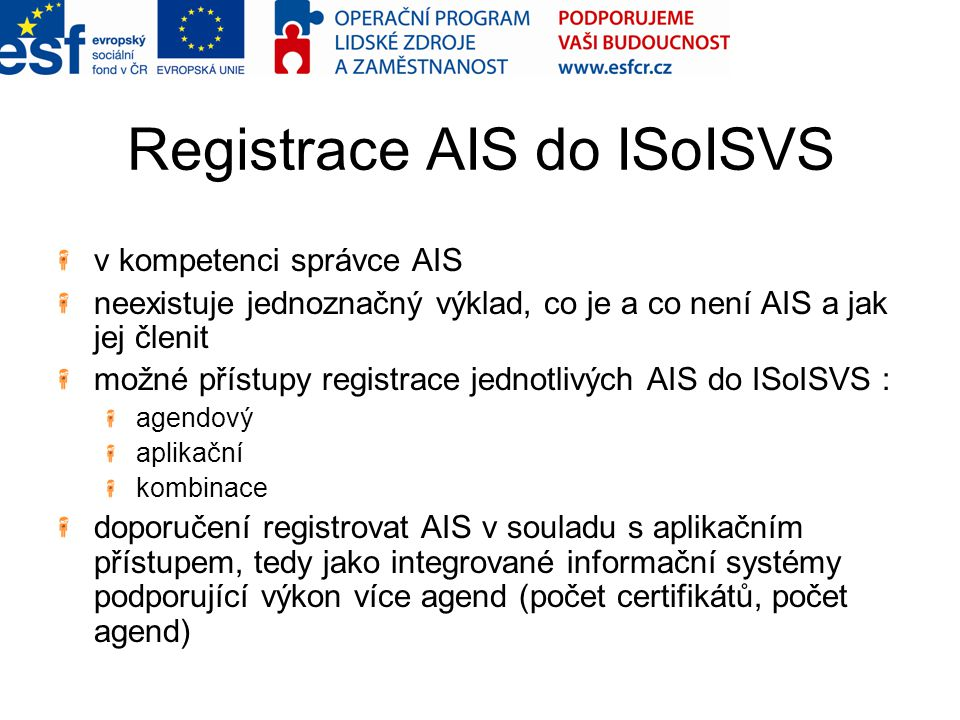 Registrace AIS do ISoISVS