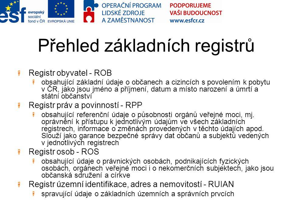 Přehled základních registrů