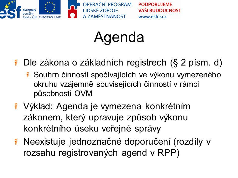 Agenda Dle zákona o základních registrech (§ 2 písm. d)