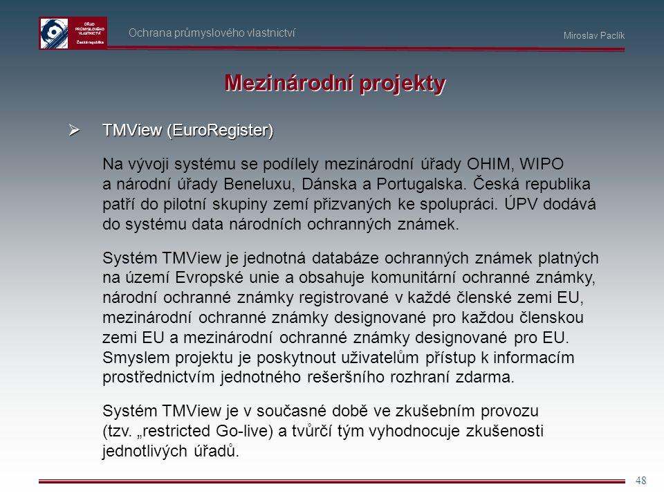 Mezinárodní projekty TMView (EuroRegister)