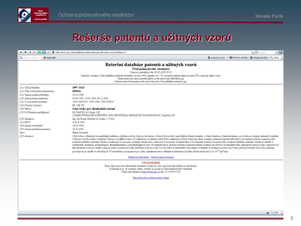 Rešerše patentů a užitných vzorů