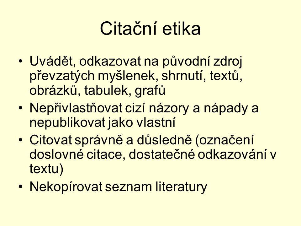 Citační etika Uvádět, odkazovat na původní zdroj převzatých myšlenek, shrnutí, textů, obrázků, tabulek, grafů.