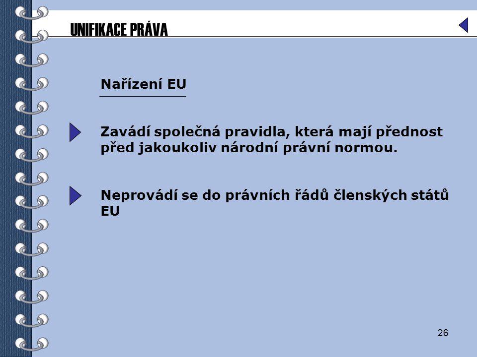 UNIFIKACE PRÁVA Nařízení EU