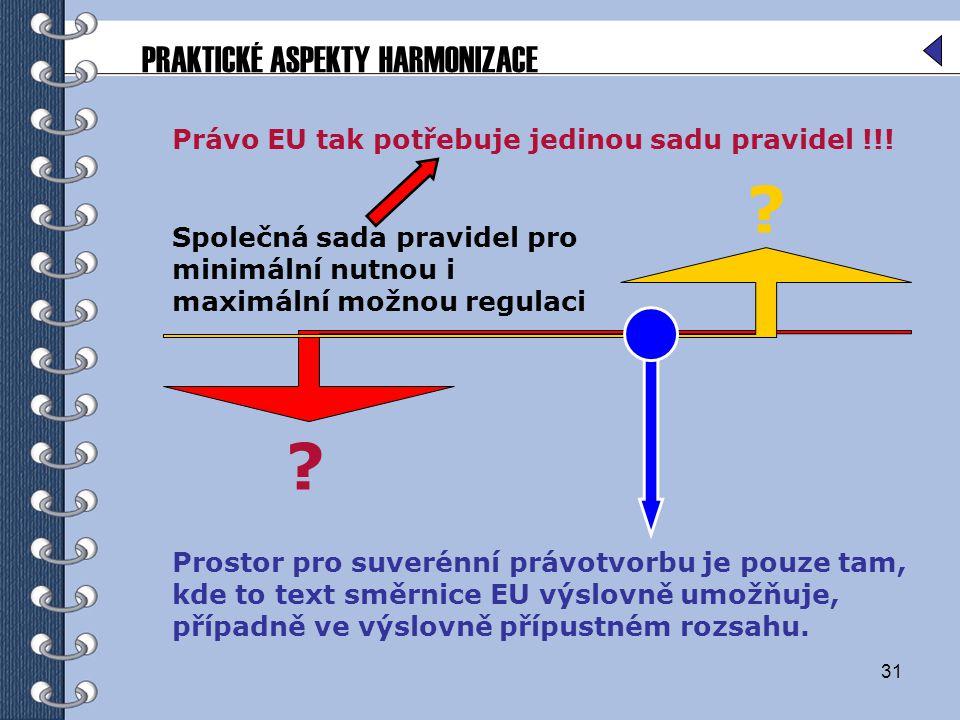 PRAKTICKÉ ASPEKTY HARMONIZACE