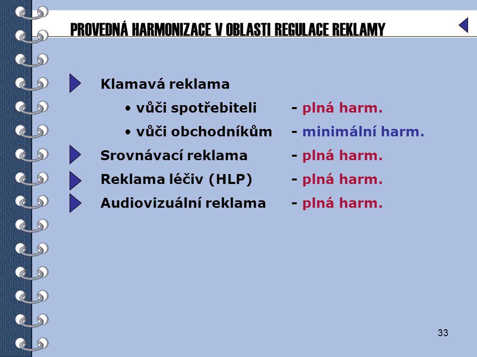 PROVEDNÁ HARMONIZACE V OBLASTI REGULACE REKLAMY