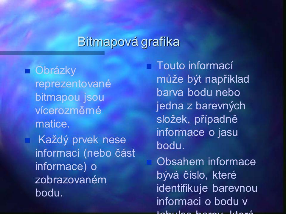 Bitmapová grafika Touto informací může být například barva bodu nebo jedna z barevných složek, případně informace o jasu bodu.