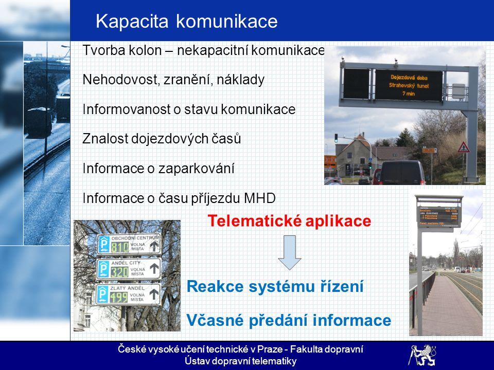 Kapacita komunikace Telematické aplikace Reakce systému řízení