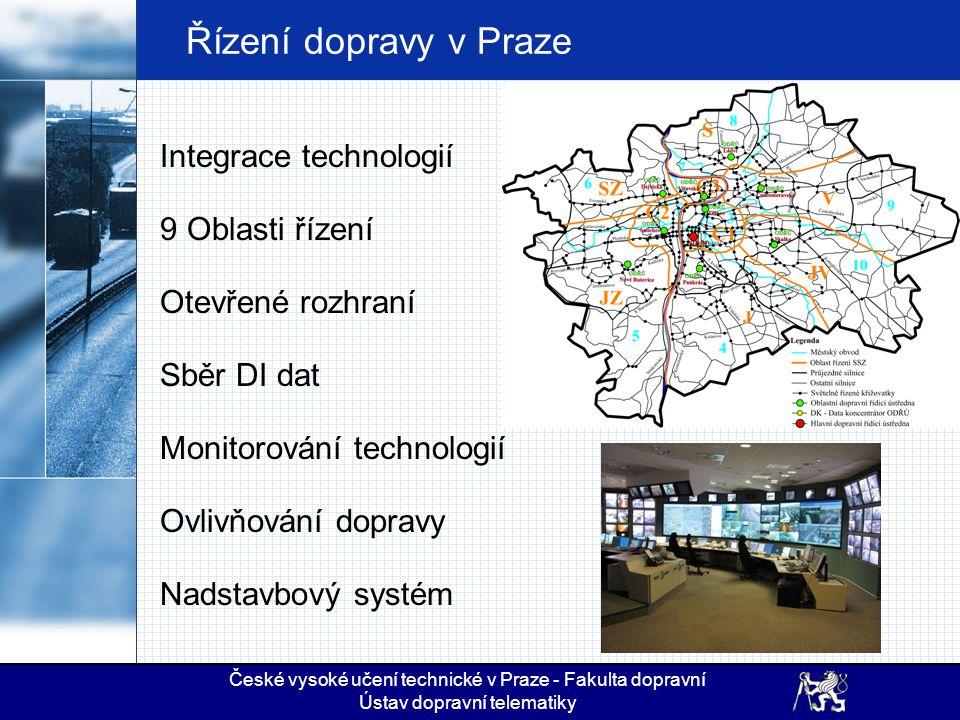 Řízení dopravy v Praze Integrace technologií 9 Oblasti řízení