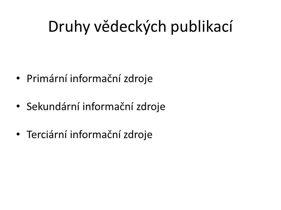 Druhy vědeckých publikací