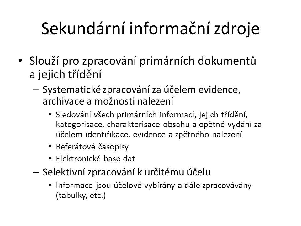 Sekundární informační zdroje