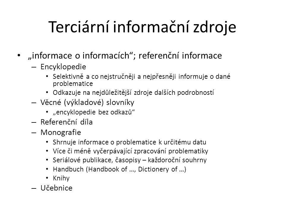 Terciární informační zdroje