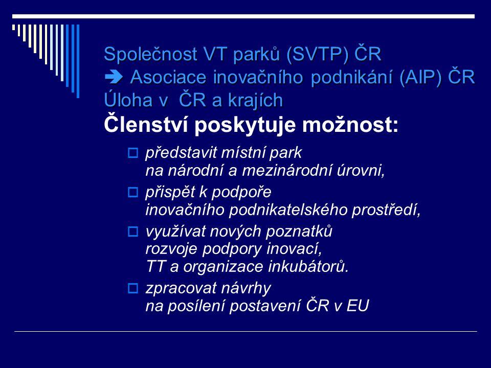 Společnost VT parků (SVTP) ČR  Asociace inovačního podnikání (AIP) ČR Úloha v ČR a krajích Členství poskytuje možnost: