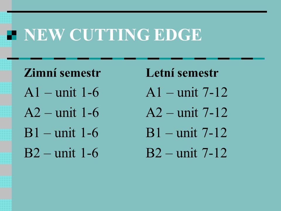 NEW CUTTING EDGE A1 – unit 1-6 A2 – unit 1-6 B1 – unit 1-6