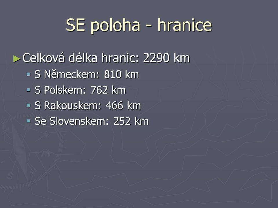 SE poloha - hranice Celková délka hranic: 2290 km S Německem: 810 km