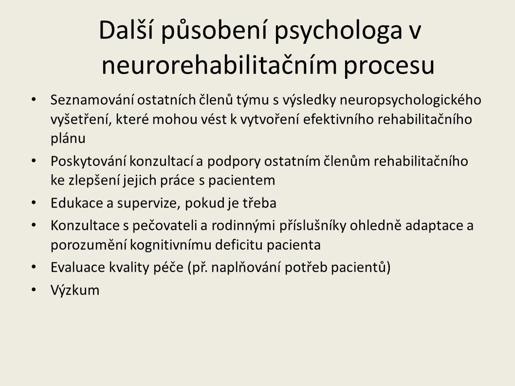 Další působení psychologa v neurorehabilitačním procesu