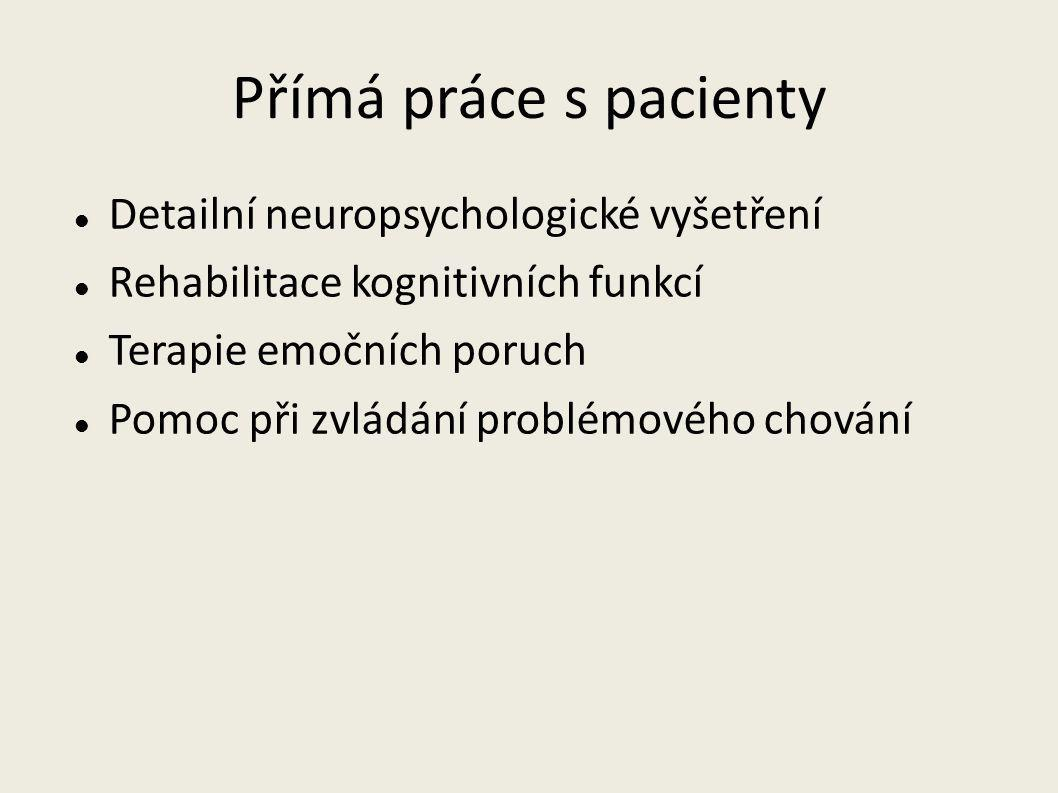Přímá práce s pacienty Detailní neuropsychologické vyšetření