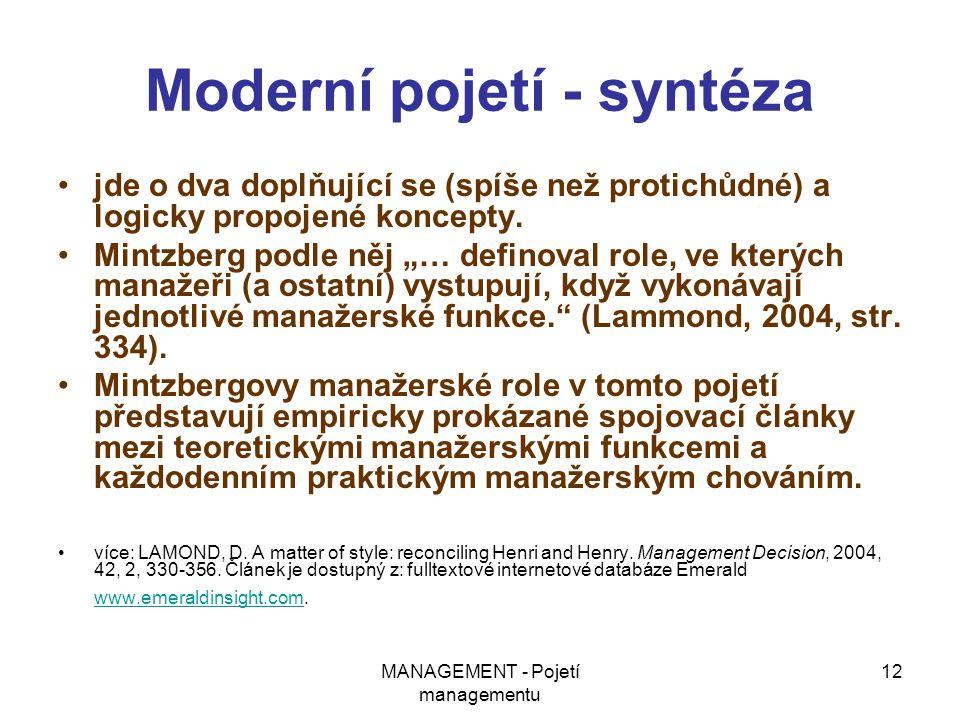 Moderní pojetí - syntéza