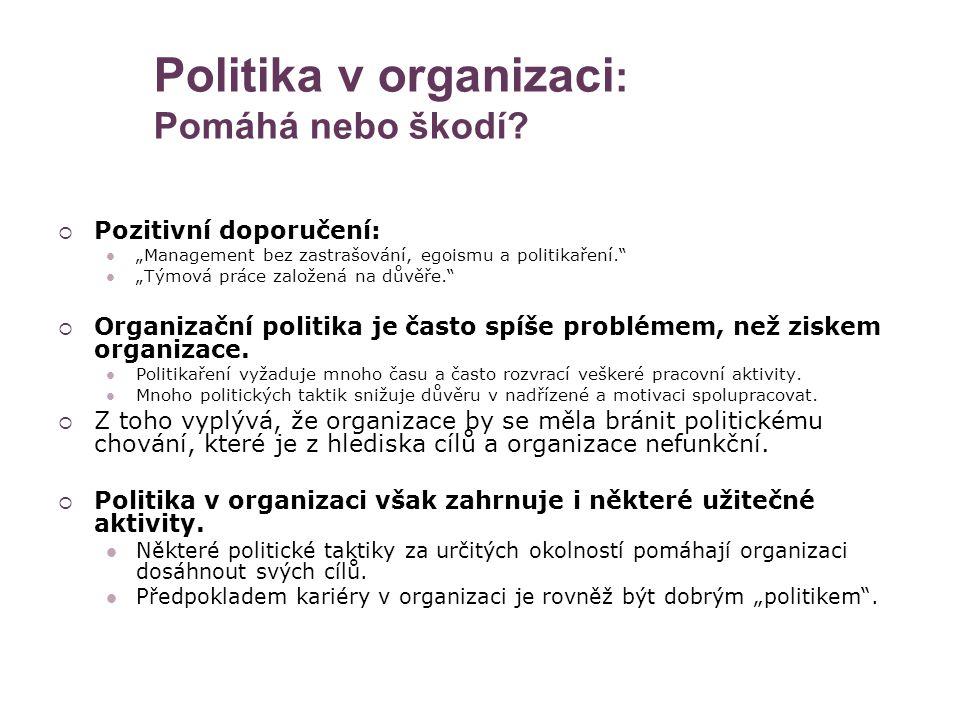 Politika v organizaci: Pomáhá nebo škodí