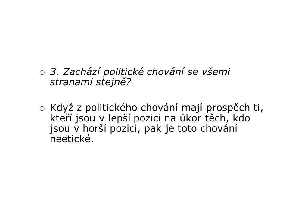3. Zachází politické chování se všemi stranami stejně