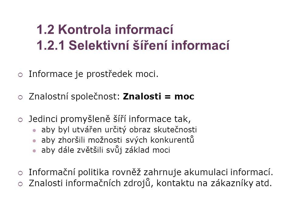 1.2 Kontrola informací 1.2.1 Selektivní šíření informací