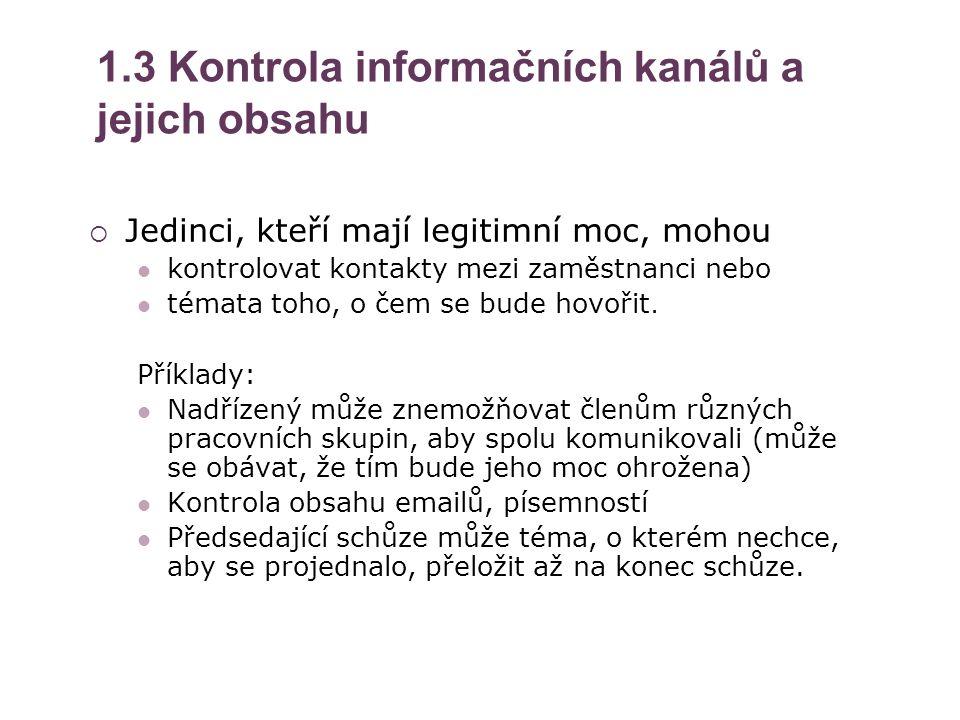 1.3 Kontrola informačních kanálů a jejich obsahu