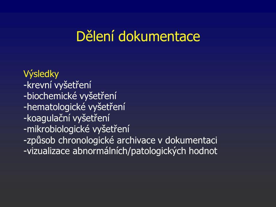 Dělení dokumentace Výsledky -krevní vyšetření -biochemické vyšetření