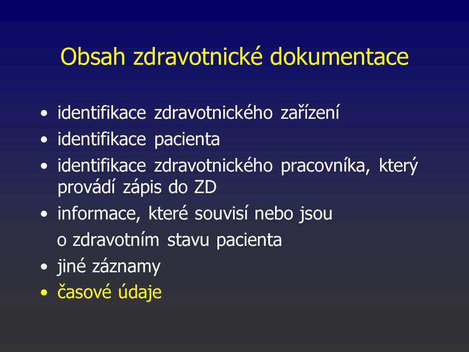 Obsah zdravotnické dokumentace