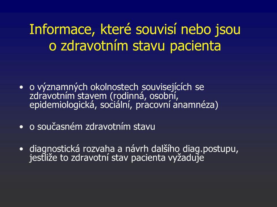 Informace, které souvisí nebo jsou o zdravotním stavu pacienta