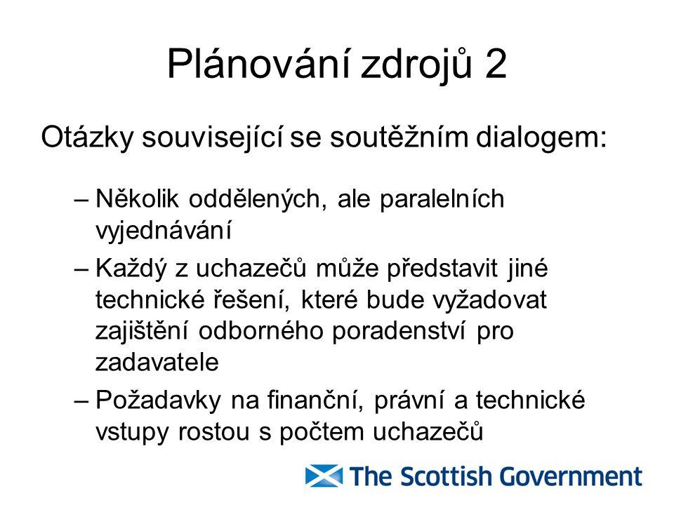Plánování zdrojů 2 Otázky související se soutěžním dialogem: