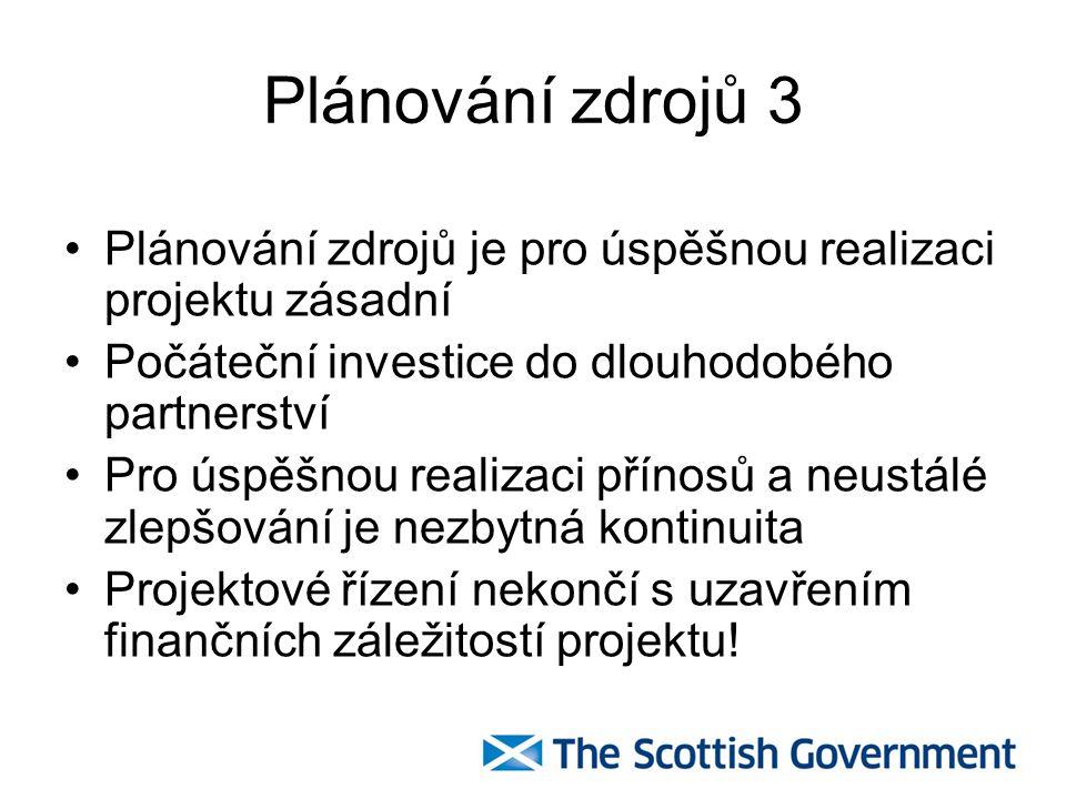 Plánování zdrojů 3 Plánování zdrojů je pro úspěšnou realizaci projektu zásadní. Počáteční investice do dlouhodobého partnerství.