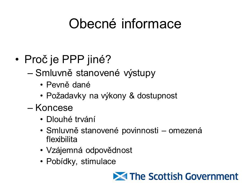 Obecné informace Proč je PPP jiné Smluvně stanovené výstupy Koncese