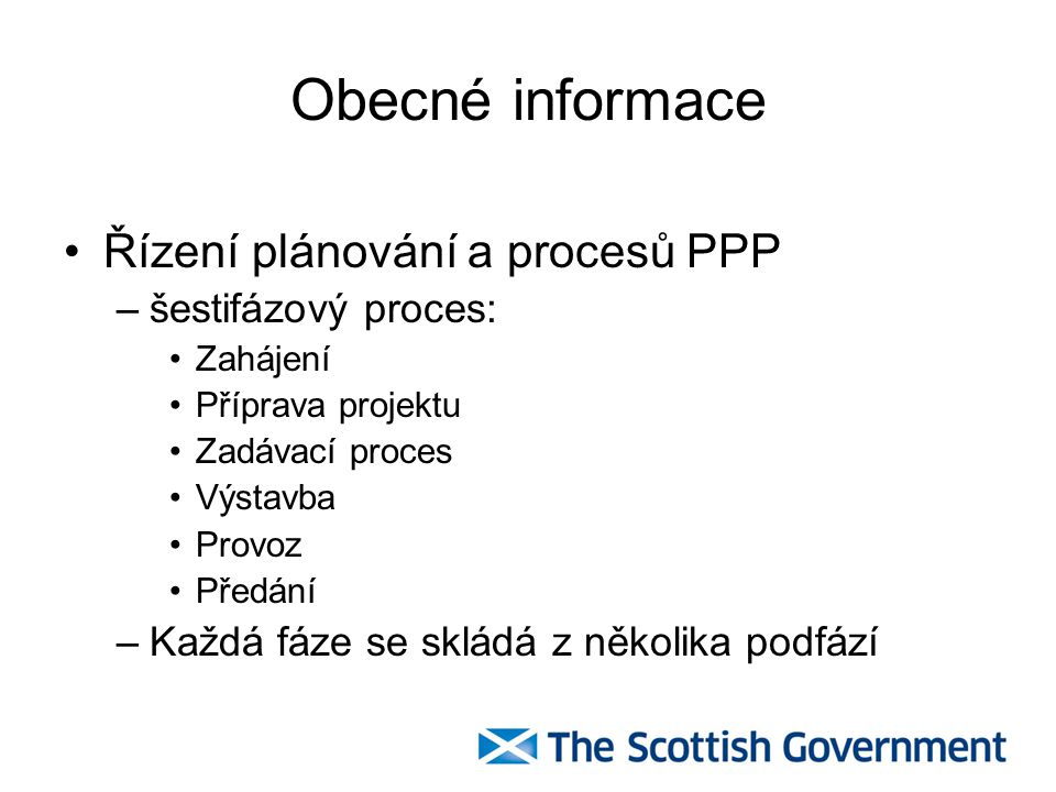 Obecné informace Řízení plánování a procesů PPP šestifázový proces: