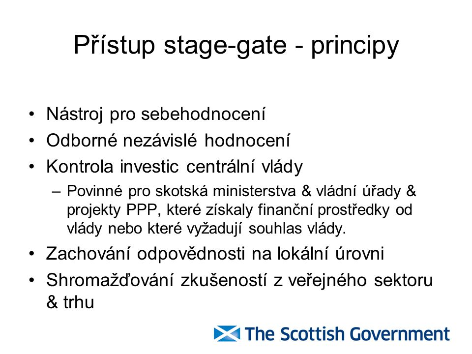 Přístup stage-gate - principy