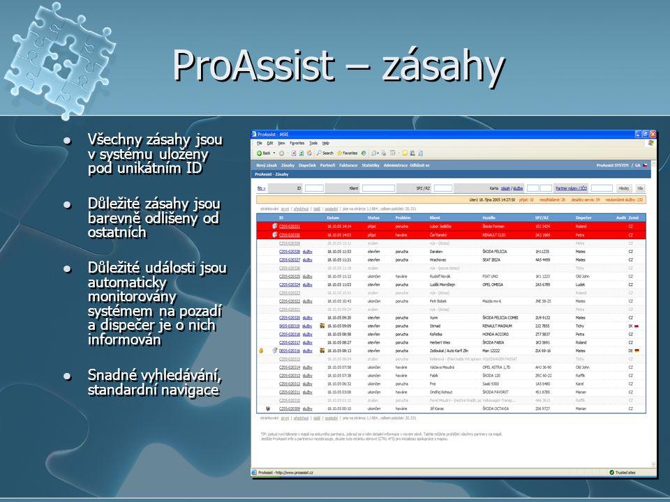 ProAssist – zásahy Všechny zásahy jsou v systému uloženy pod unikátním ID. Důležité zásahy jsou barevně odlišeny od ostatních.
