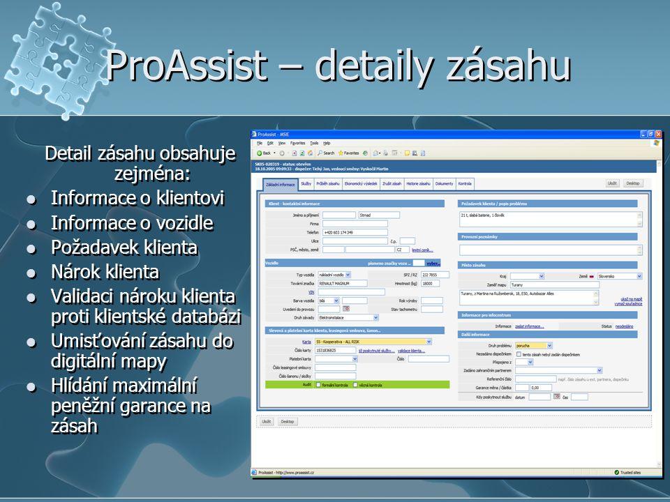ProAssist – detaily zásahu