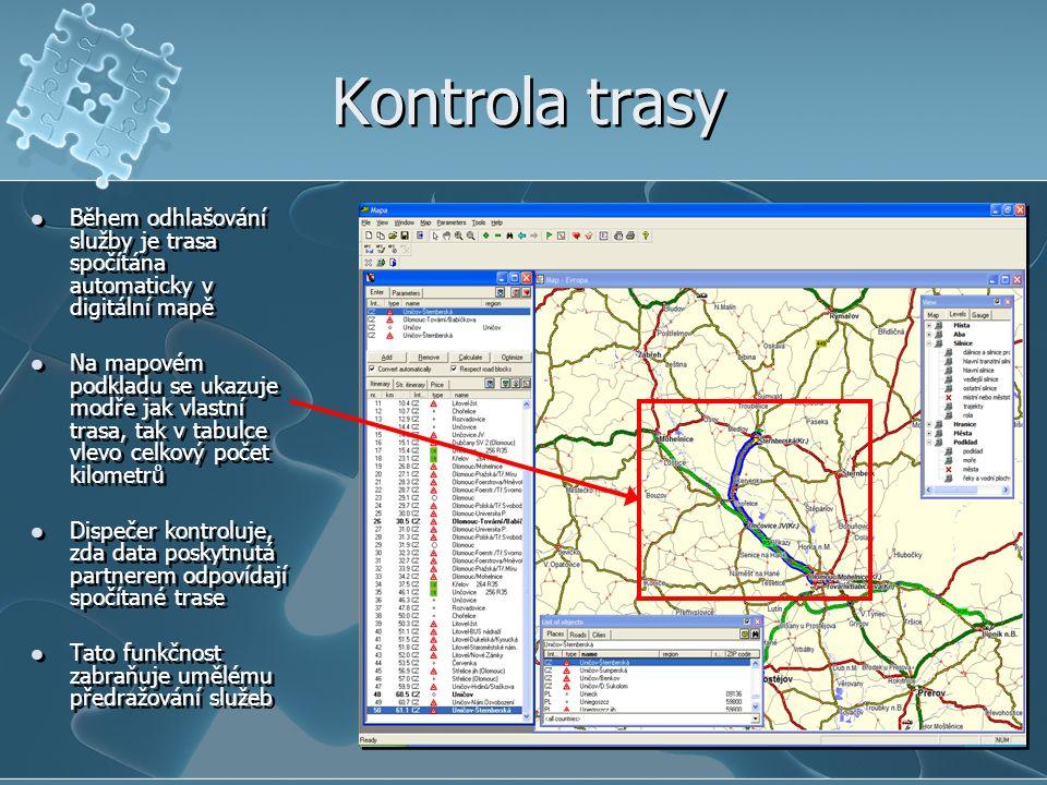Kontrola trasy Během odhlašování služby je trasa spočítána automaticky v digitální mapě.
