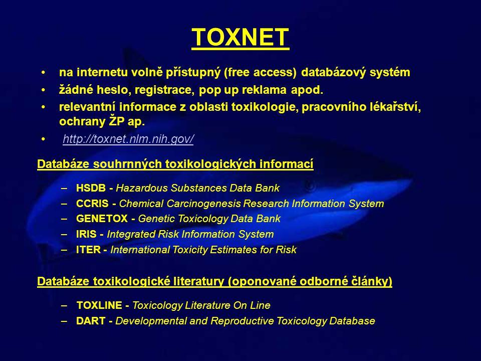 TOXNET na internetu volně přístupný (free access) databázový systém