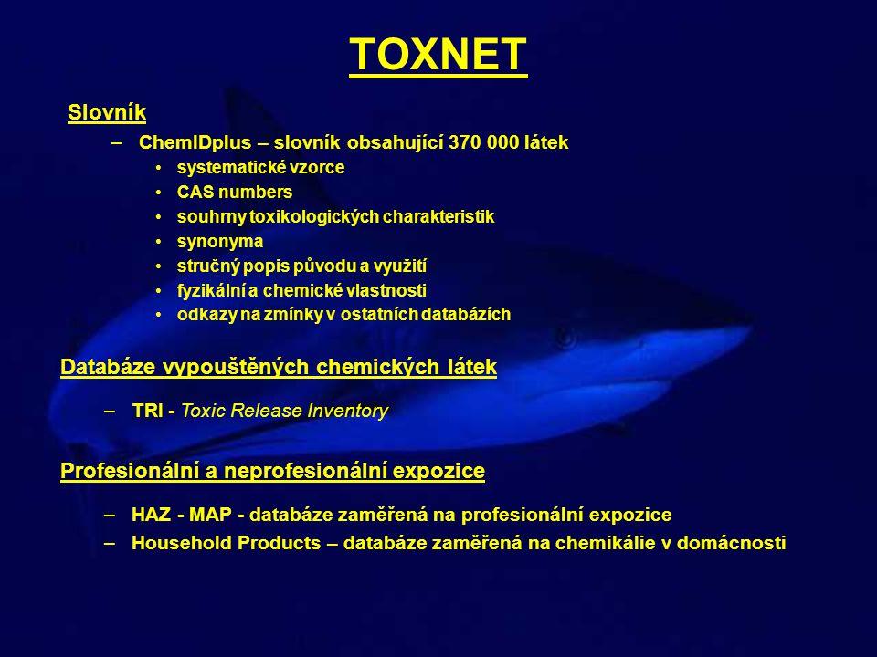 TOXNET Slovník Databáze vypouštěných chemických látek