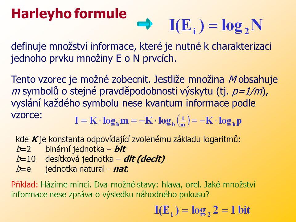Harleyho formule definuje množství informace, které je nutné k charakterizaci jednoho prvku množiny E o N prvcích.