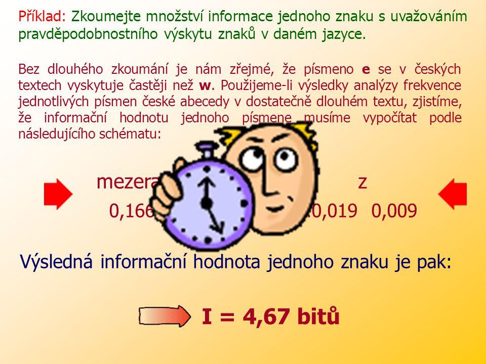 Příklad: Zkoumejte množství informace jednoho znaku s uvažováním pravděpodobnostního výskytu znaků v daném jazyce.