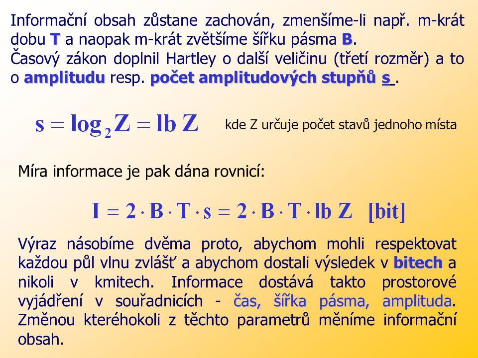 Míra informace je pak dána rovnicí: