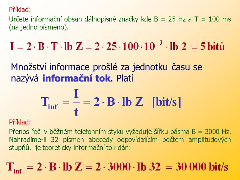Příklad: Určete informační obsah dálnopisné značky kde B = 25 Hz a T = 100 ms (na jedno písmeno).
