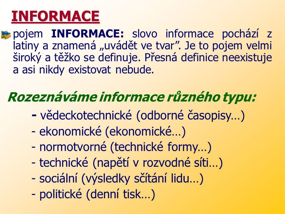 INFORMACE Rozeznáváme informace různého typu: