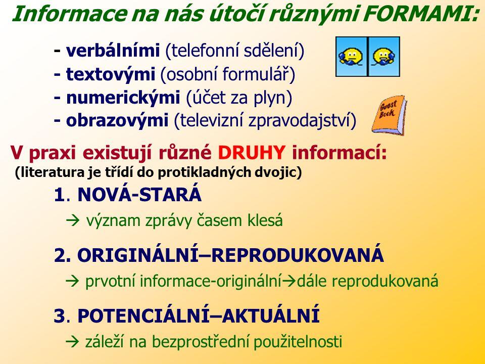 Informace na nás útočí různými FORMAMI:
