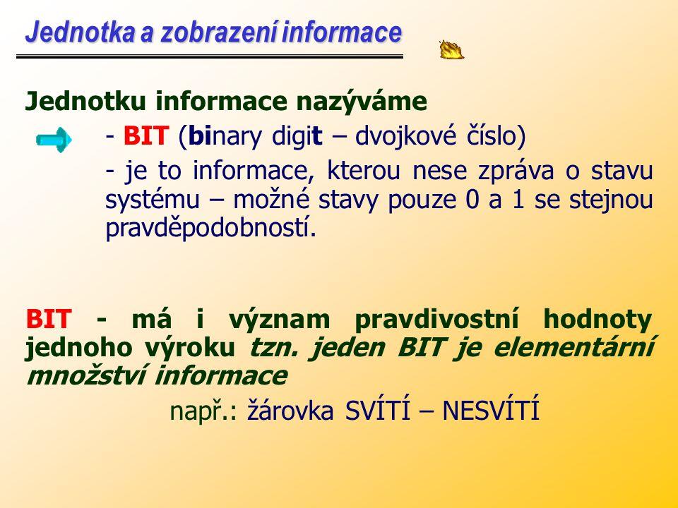 Jednotka a zobrazení informace