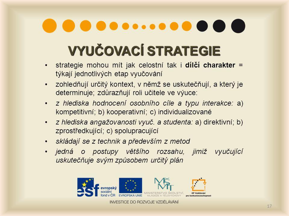 VYUČOVACÍ STRATEGIE strategie mohou mít jak celostní tak i dílčí charakter = týkají jednotlivých etap vyučování.