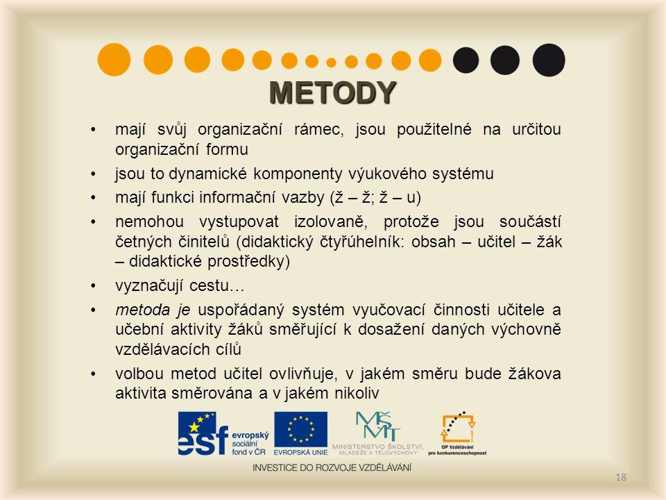 METODY mají svůj organizační rámec, jsou použitelné na určitou organizační formu. jsou to dynamické komponenty výukového systému.