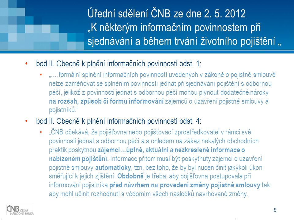 Úřední sdělení ČNB ze dne 2. 5