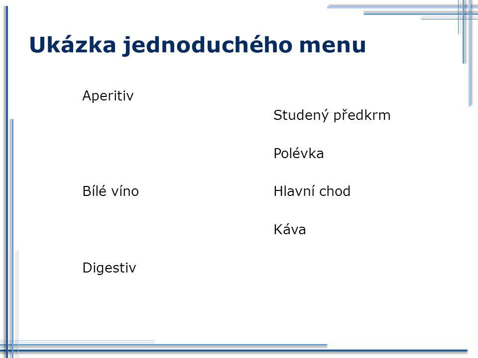 Ukázka jednoduchého menu